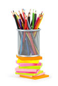 Reminders and color pencils isolated on the white — Stock Photo