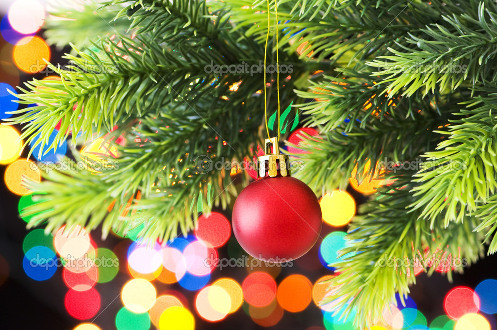 Christmas decoration and blurred lights at background — Stock Photo #4545254