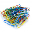 Close up of many colourful paper clips — Stock Photo