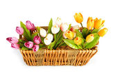 Bunch of tulip flowers on the table — Stock Photo