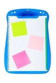 Abrir carpeta con notas recordatorias y página en blanco — Foto de Stock
