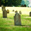 Cemetery with many tombstones on the bright day — Stock Photo #4562576
