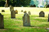 Cemitério com muitas lápides no dia brilhante — Foto Stock