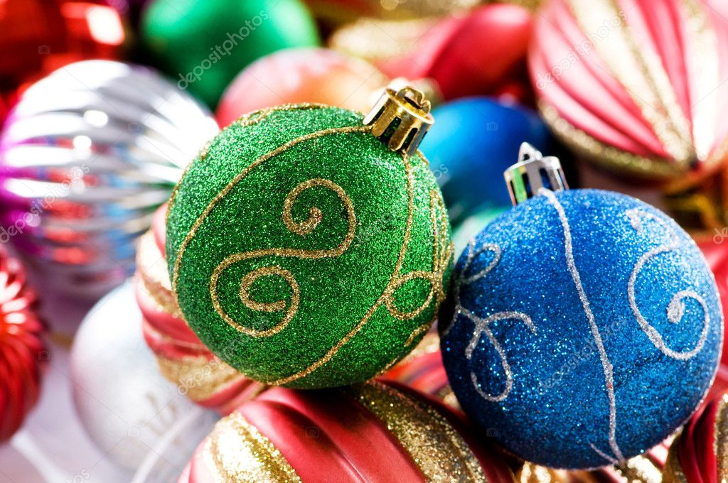 Colourful christmas decoration on a shiny background  — Stock Photo #4563063