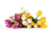 Bouquet of colorful tulips on the table — Stock Photo