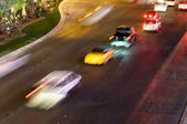 Moving traffic and car lights in the evening — Stock Photo