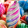 Colourful christmas decoration on a shiny background — Stock Photo