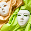 Theatre concept with the white plastic masks — Stock Photo #4583926