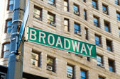Famous broadway street signs in downtown New York — Stock Photo