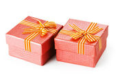 Gift boxes isolated on the white background — Stock Photo