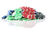 Stack of various casino chips - gambling concept — Stock fotografie