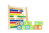 Alphabet blocks and abacus isolated on white — Stock Photo