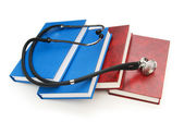 Concept of medical education with book and stethoscope — Stockfoto