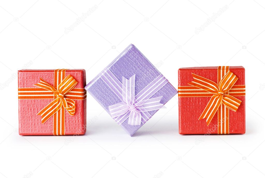 Gift boxes isolated on the white background — Stock Photo #4581578