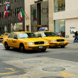 Famous New York yellow taxi cabs in motion — Stock Photo #4603420