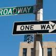 Famous broadway street signs in downtown New York — Stock Photo #4604140
