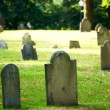 Cemetery with many tombstones on the bright day — Stock Photo #4609519
