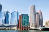 Boston city - 7 Sep - panorama with skyscrapers — Stock Photo