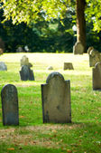 Cemetery with many tombstones on the bright day — Foto Stock