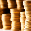 Stock Photo: Close up of the golden coin stacks