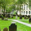 Cemetery with many tombstones on the bright day — Stock Photo #4612029