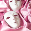 Theatre concept with the white plastic masks — Stock Photo #4612819