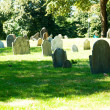 Cemetery with many tombstones on the bright day — Stock Photo #4616716