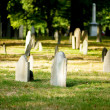 Cemetery with many tombstones on the bright day — Stock Photo