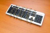 Bilgisayar güvenlik kavramı klavye ve zincir — Stok fotoğraf