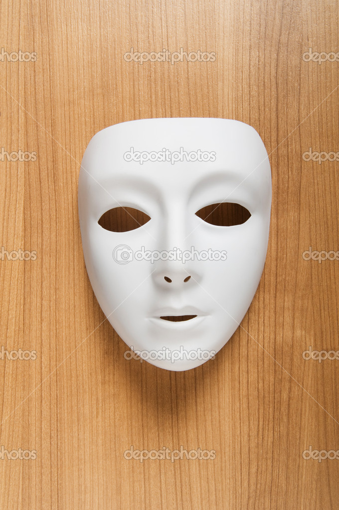 Theatre concept with the white plastic masks — Stock Photo #4612704