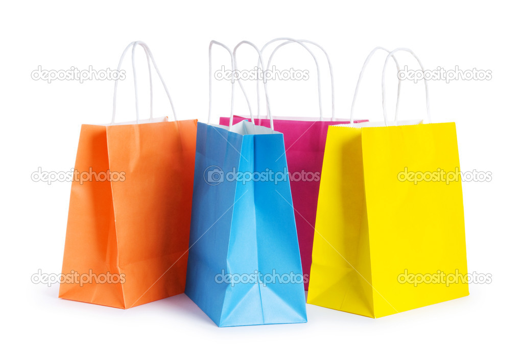 Shopping bags isolated on the white background  Foto Stock #4615414