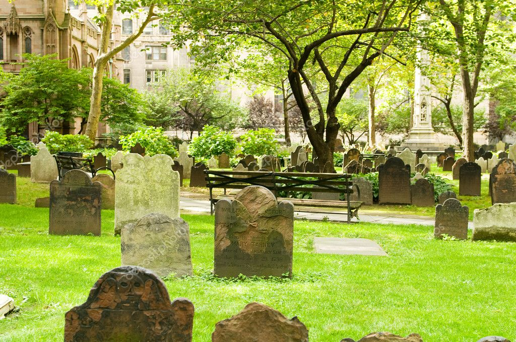Cemetery with many tombstones on the bright day — Stock Photo #4616002