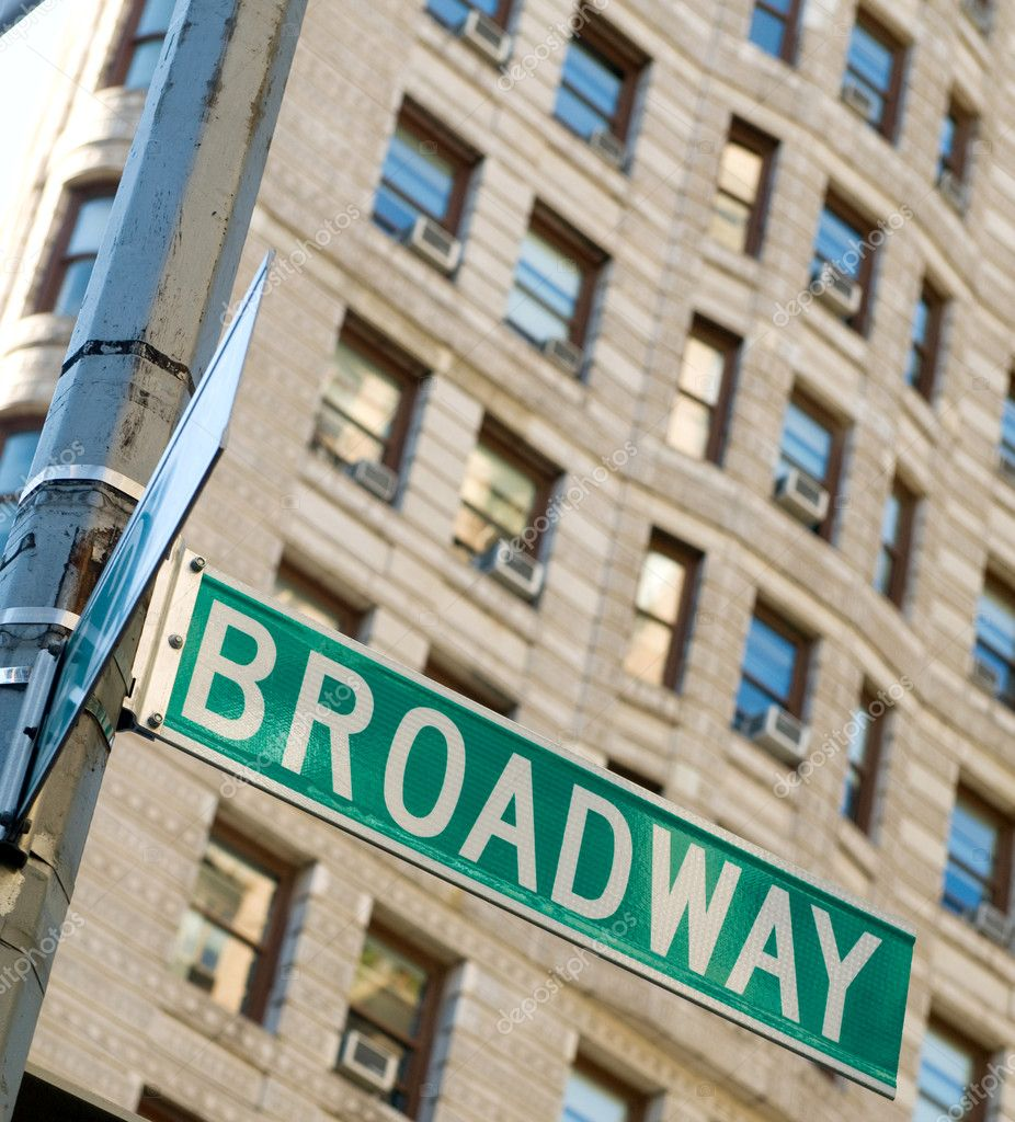 Famous broadway street signs in downtown New York — Stock Photo #4620411