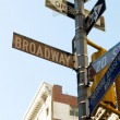 Famous broadway street signs in downtown New York - Stock Photo