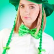 Saint Patrick day concept with young girl — Stock Photo