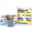 Education concept with pencils, books and abacus — Stock Photo