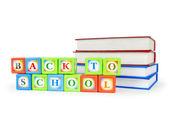 Books and alphabet blocks isolated on white — Stock Photo
