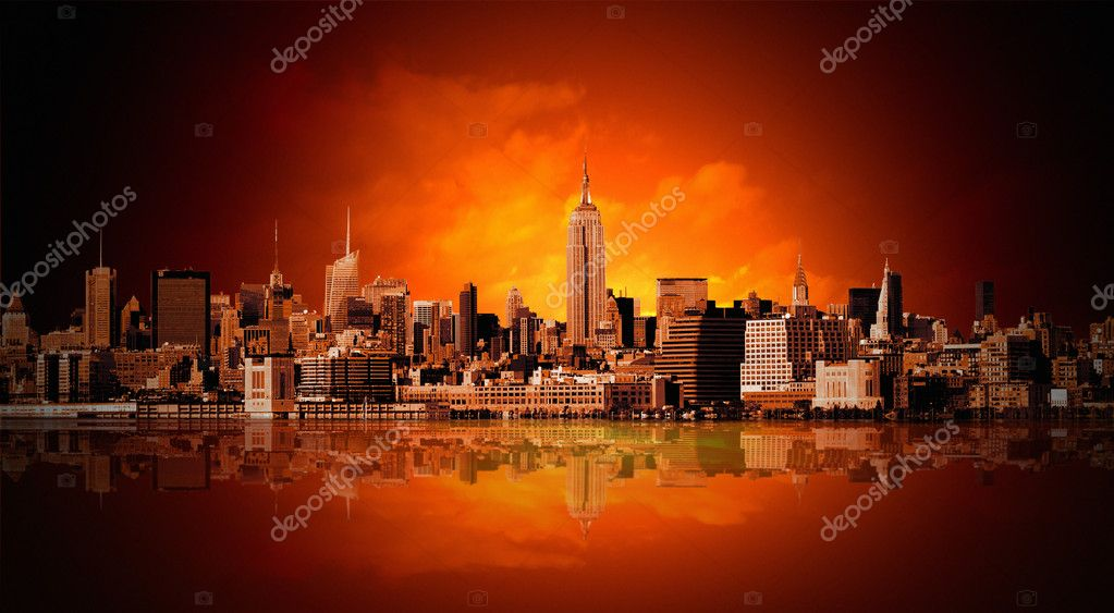 New York city panorama  Stock fotografie #5089764