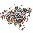 Eurasia continent made of woman shoes — Stock Photo