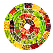 Collage of many different fruits and vegetables - Stock Photo