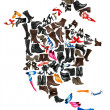 North America continent made of female shoes — Stock Photo