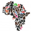 Africa continent made of woman shoes — Stock Photo