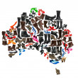 Australia continent made of woman shoes — Stock Photo
