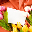 Envelope and flowers on the satin background - Foto Stock
