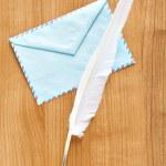 schrijven van veren en envelop — Stockfoto