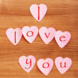 Heart shaped sticky notes on the background - Stockfoto
