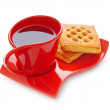 Cup of tea and fresh cookies on table — Stock Photo #5096535