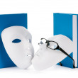 Reading concept with masks, books and  glasses - Foto de Stock