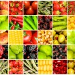 Collage of many different fruits and vegetables - Foto de Stock  