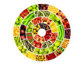 Collage of many different fruits and vegetables — Foto de Stock